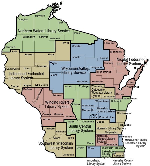 WI Public Library System Map