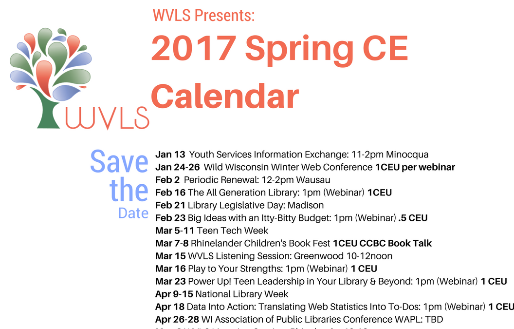 Save the Date(s)! the Spring CE Calendar Announced