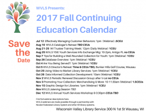 WVLS 2017 Fall Continuing Education Calendar