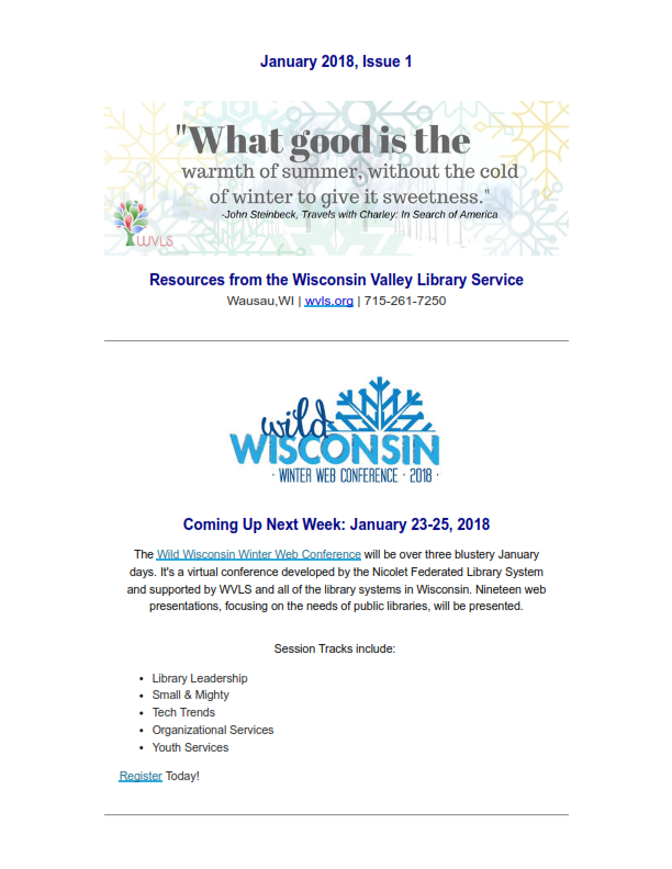 WVLS Newsletter January 2018 Edition 1 Page 1
