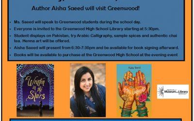 Award-Winning Youth Author Aisha Saeed To Visit Greenwood